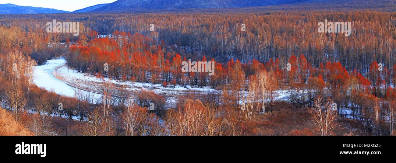 Snow scene in Heilongjiang, Greater Khingan Range - Stock Image