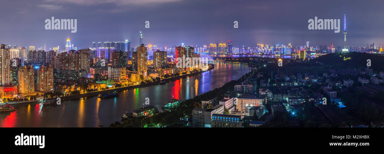 Night view of Wuhan City, Hankou, Hubei - Stock Image