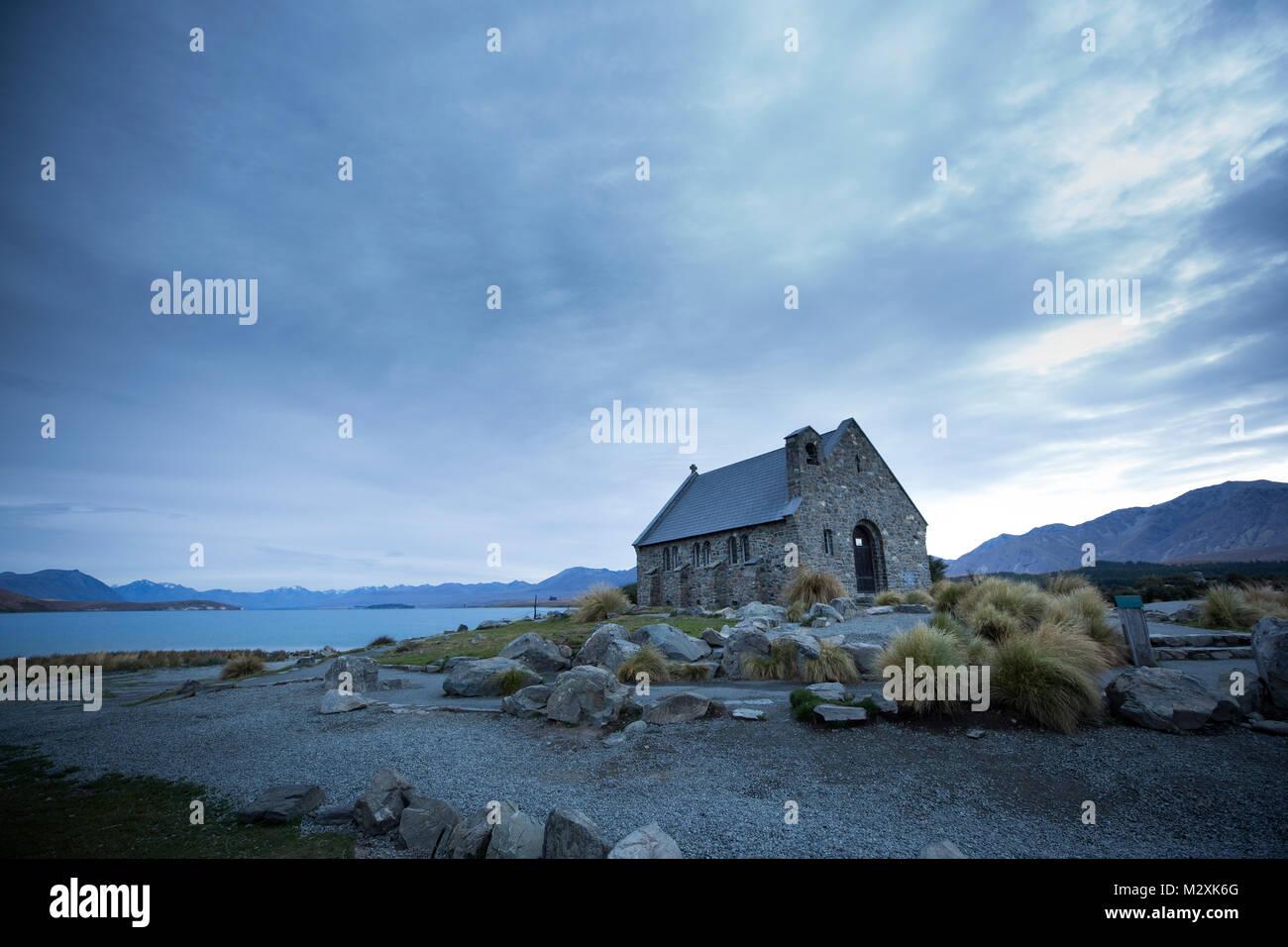The South Island of New Zealand Tekapo Wrangler Church - Stock Image