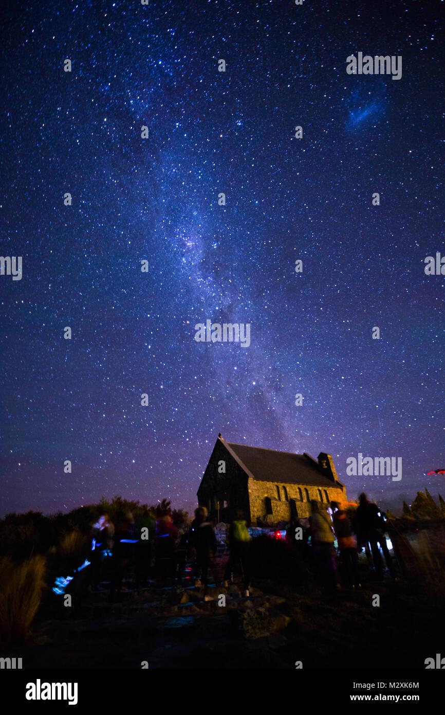 The South Island of New Zealand Tekapo Wrangler church at night - Stock Image