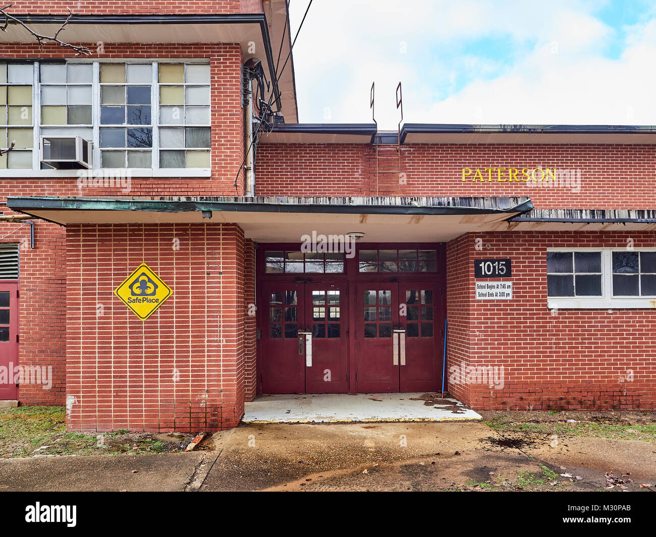 Closed and abandoned Paterson elementary school building that is dilapidated and rundown in Montgomery Alabama USA. - Stock Image