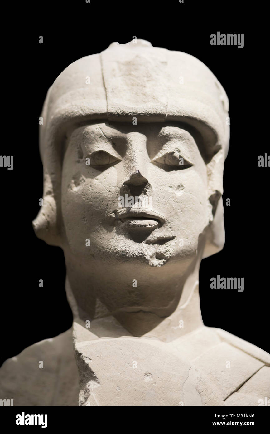 Jaen, Spain - December 29th, 2017: Warrior with double armour at Iberian Museum of Jaen. Cerrillo Blanco, Porcuna, - Stock Image