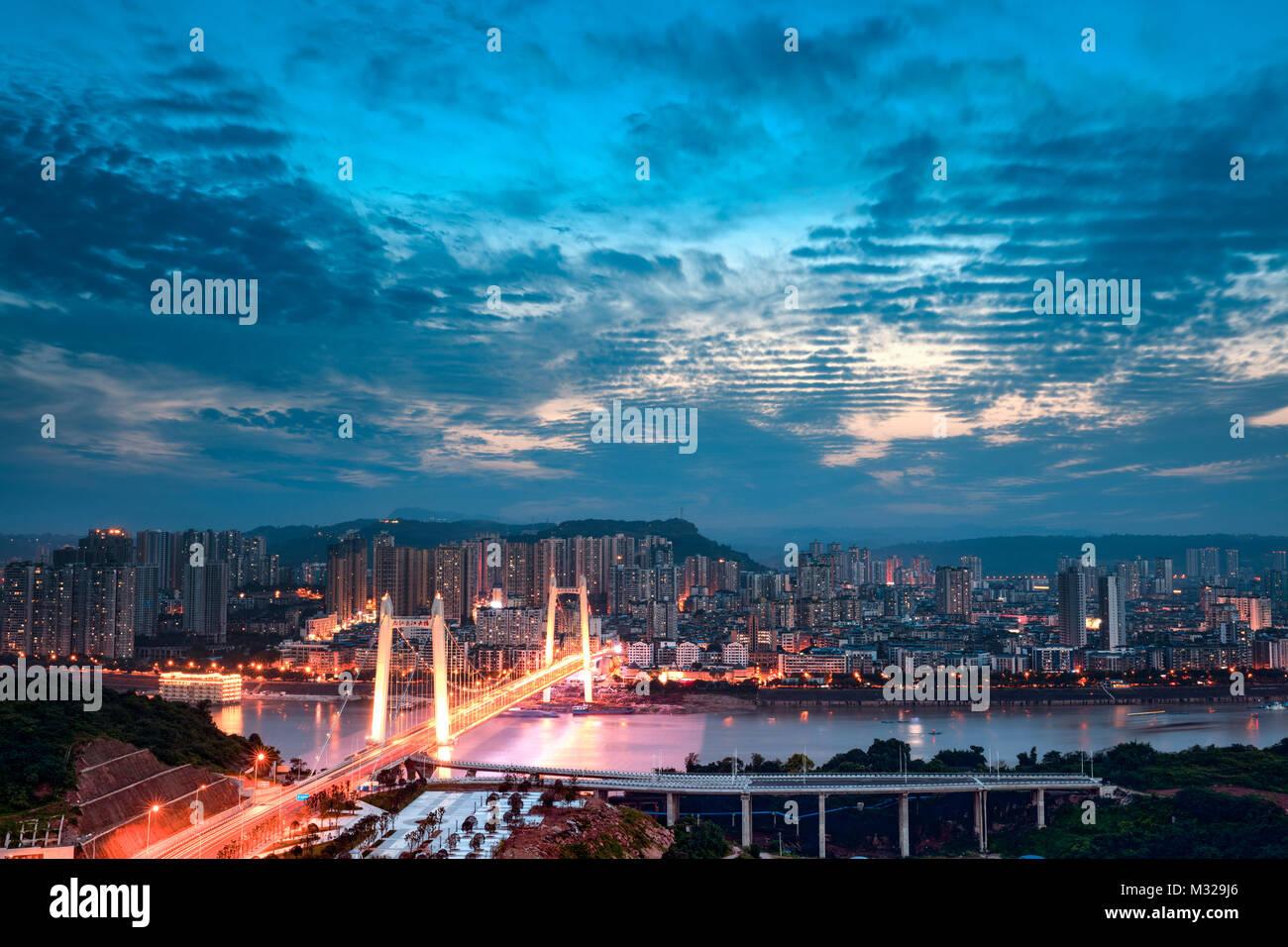 Night scene of urban architecture in Jiangjin District, Chongqing - Stock Image