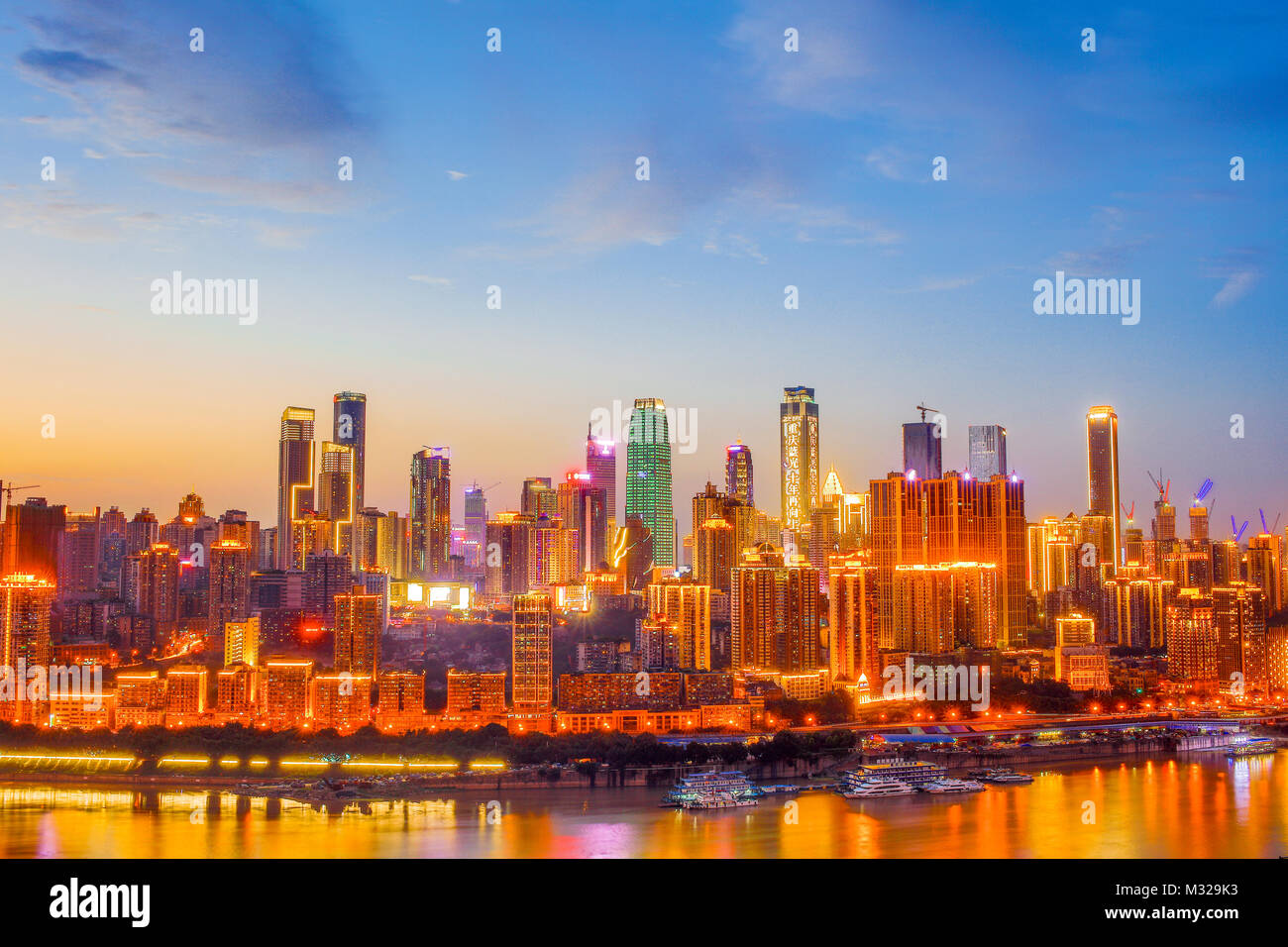 Night view of urban architecture in Chongqing - Stock Image