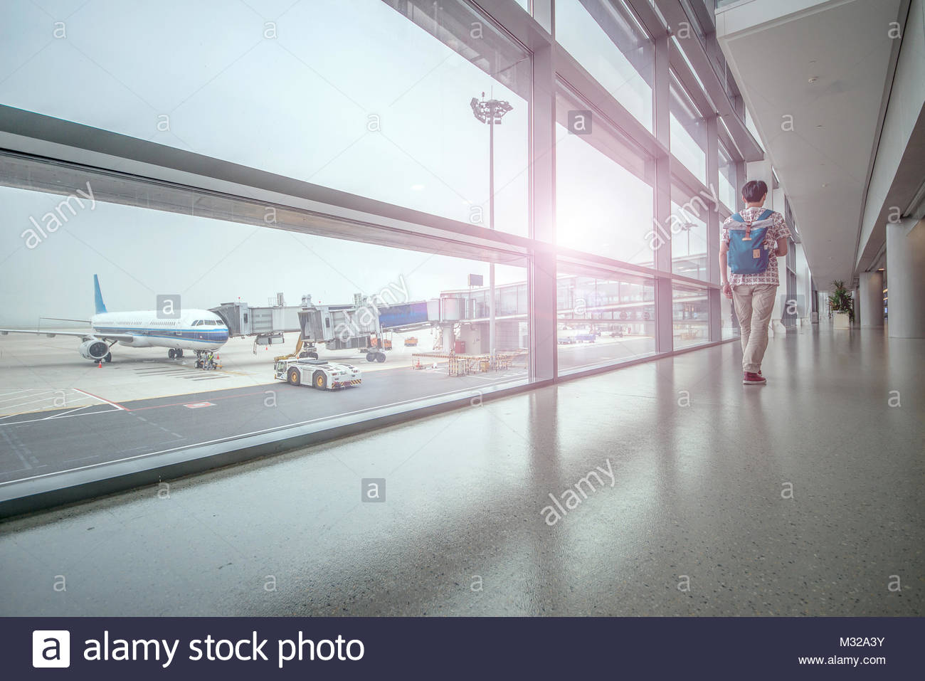 Waiting room, Los Angeles Airport, Boston, USA - Stock Image