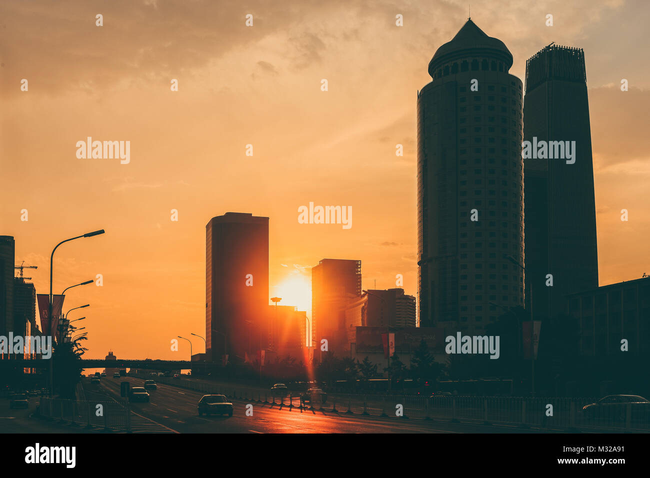 The scenery of urban architecture in Beijing - Stock Image