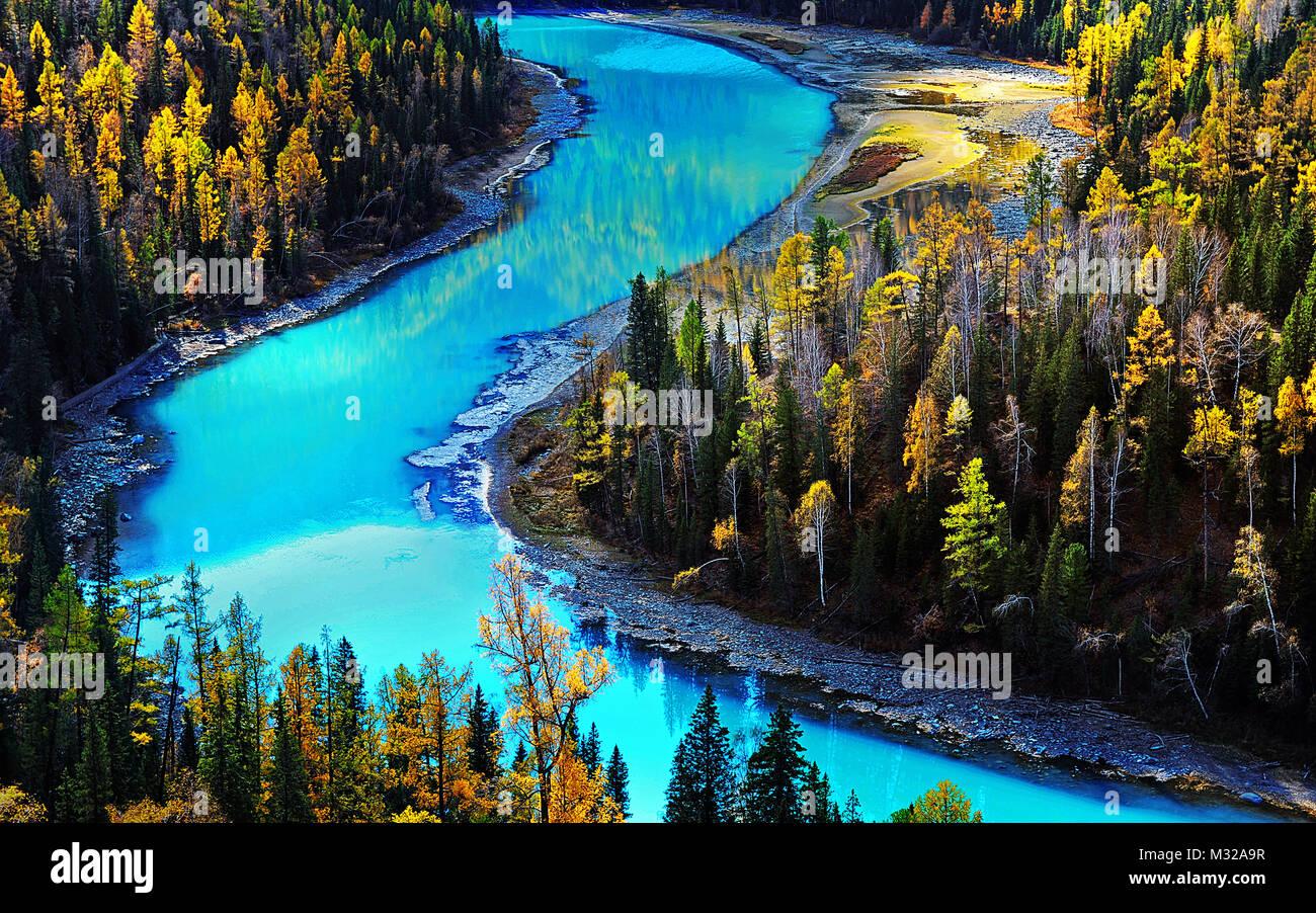 Xinjiang Kanas Moon Bay - Stock Image