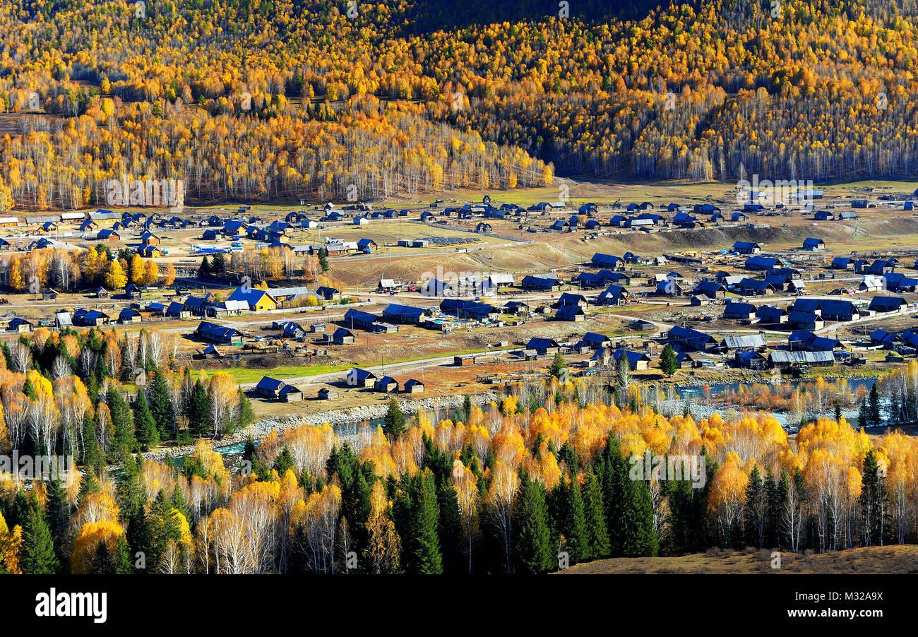 Xinjiang Kanas Hemu village scenery - Stock Image