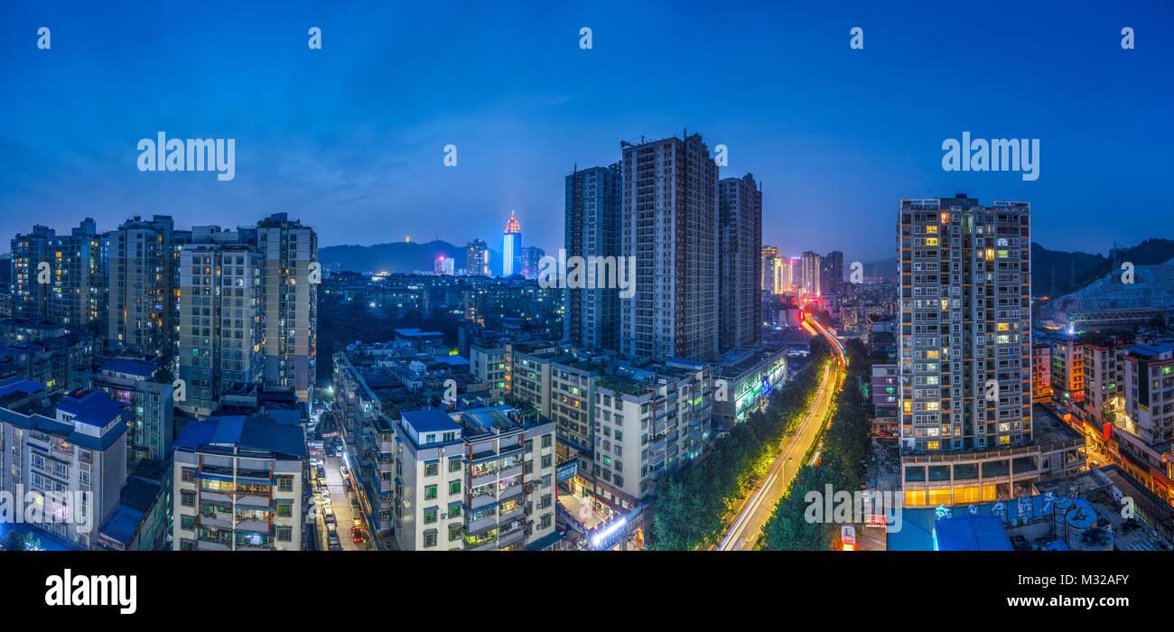 Night view of urban architecture in Zunyi, Guizhou - Stock Image