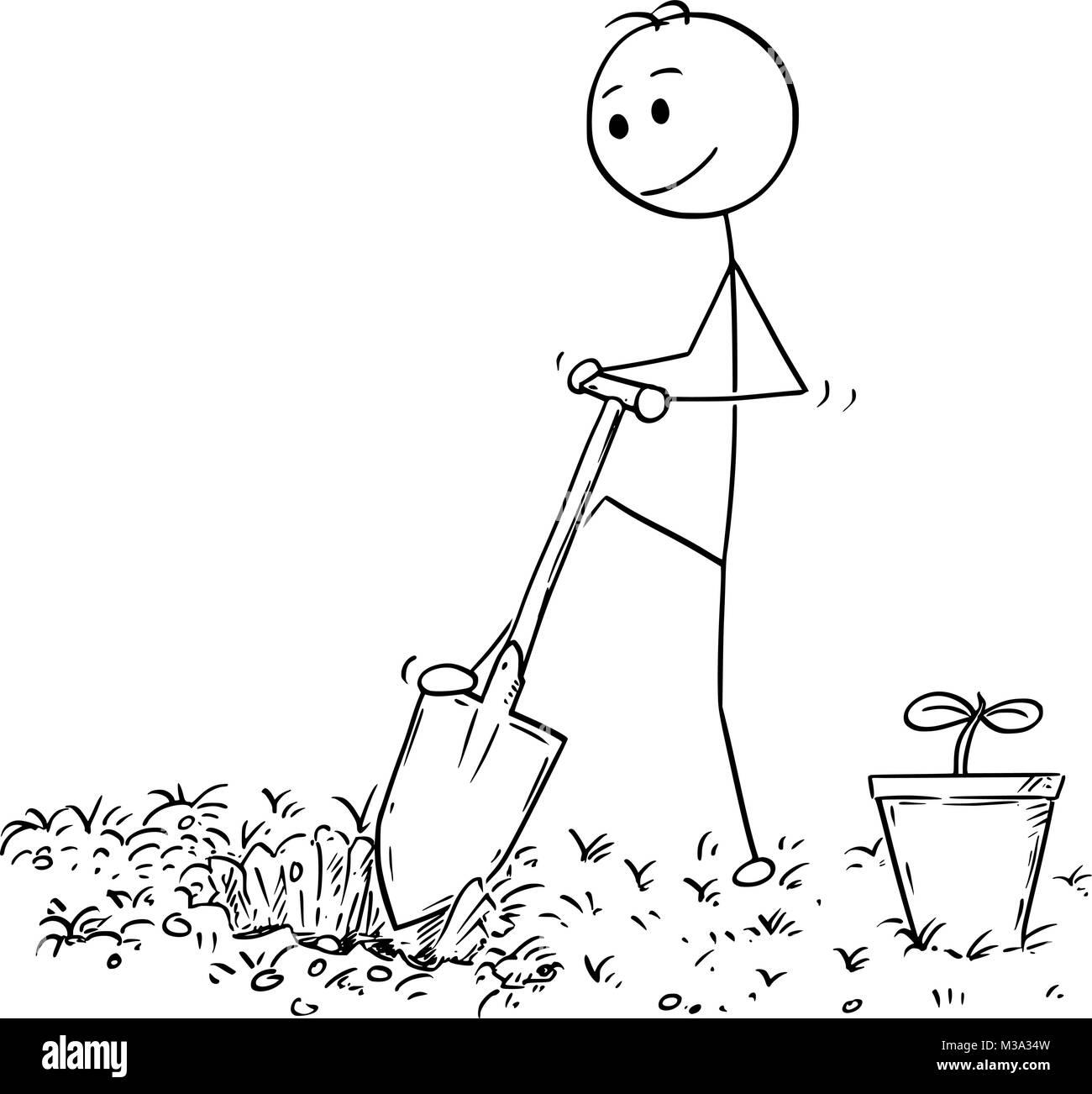 Gardener digs a hole 4