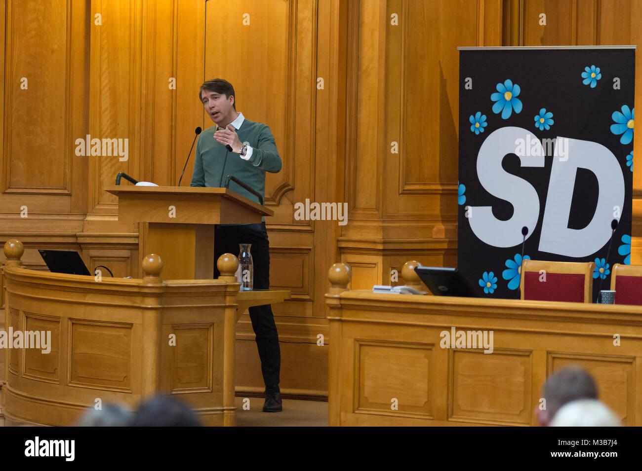 Stockholm, Sweden, 10th February, 2018. 'Future Conference' Sweden Democrats (SD) (Sverigedemokraterna) - Stock Image