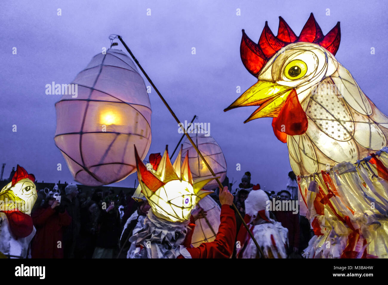 Roztoky near Prague, Czech Republic Carnival masks in a traditional parade, Chicken - Stock Image