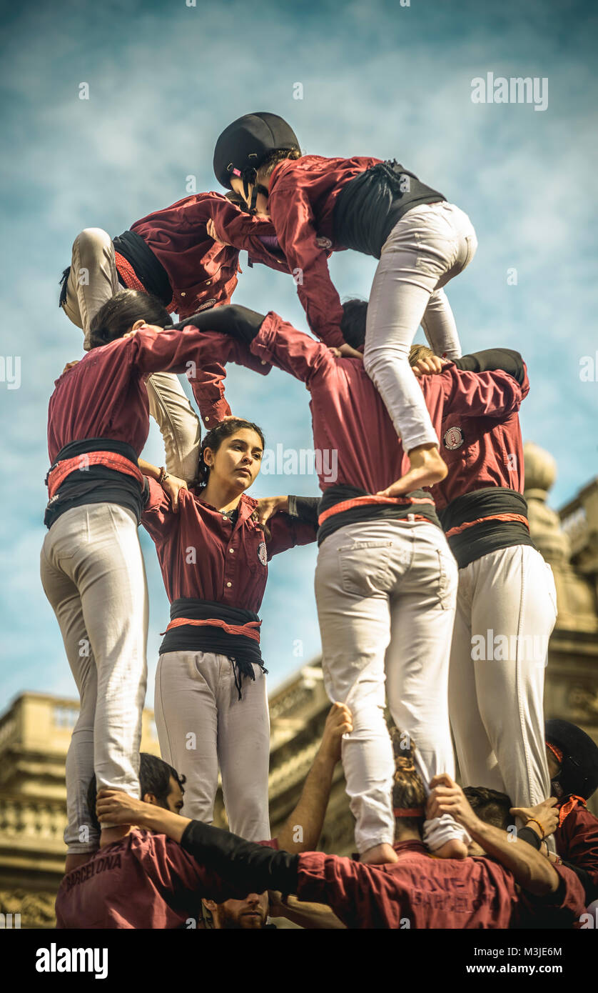 Barcelona, Spain. 11 February, 2018:  The 'Colla Jove de Barcelona' builds one of their human towers 'castells' - Stock Image