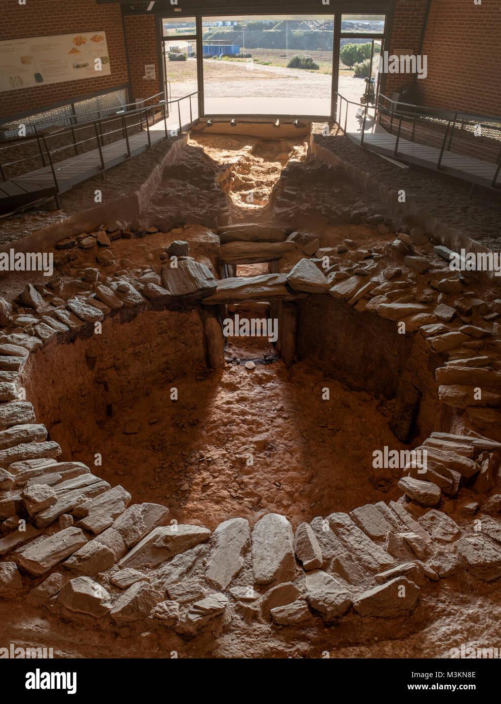 Archeological site of Huerta Montero, the most singular Calcholitic Tholos Dolmen in Europe, Almendralejo, Spain. - Stock Image