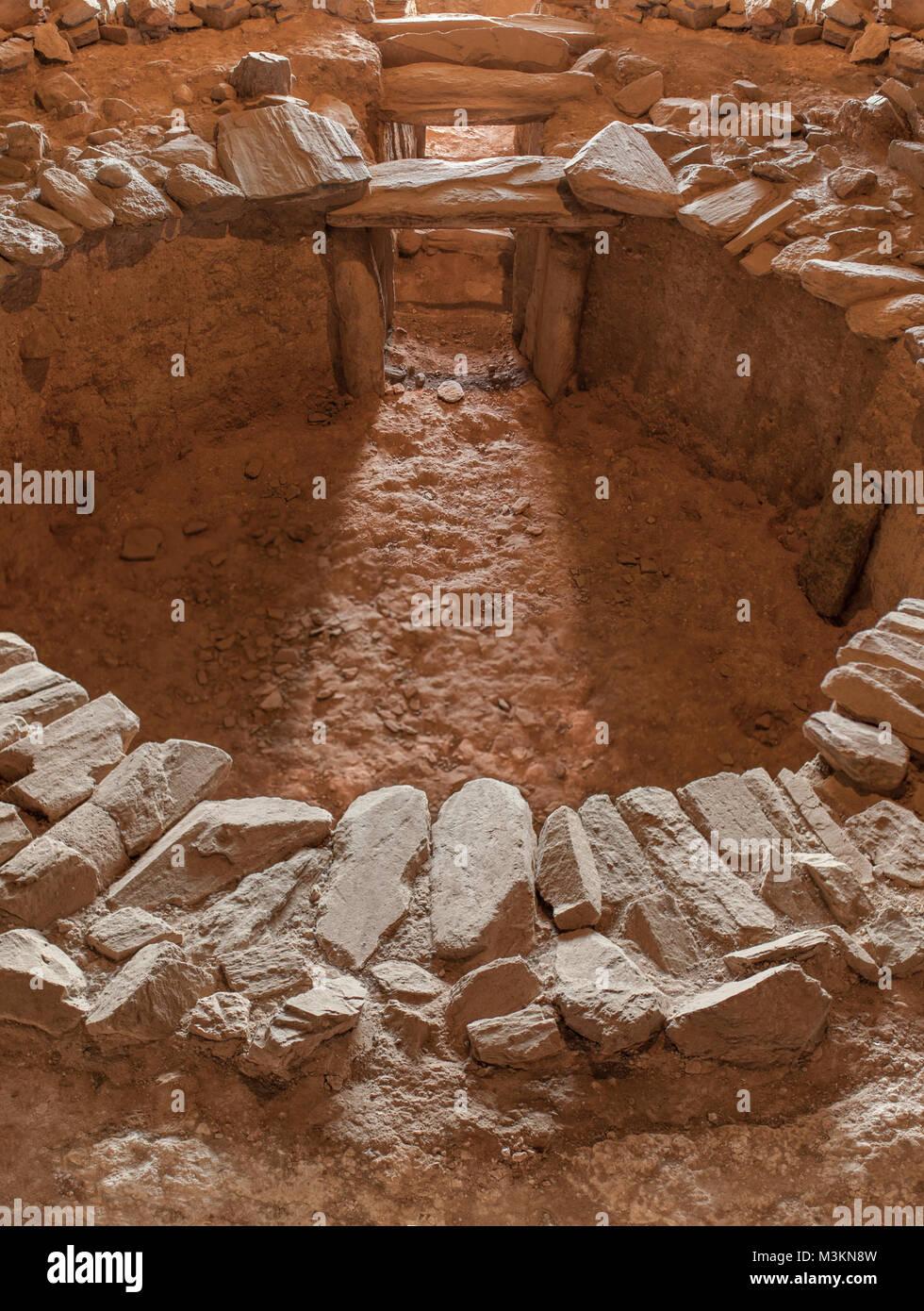 Archeological site of Huerta Montero, Calcholitic Tholos Dolmen. First winter solstice sunray. Almendralejo, Spain - Stock Image