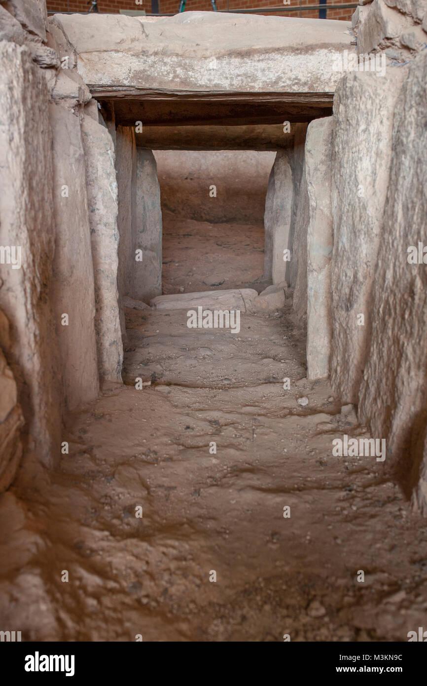 Archeological site of Huerta Montero,Calcholitic Tholos Type Dolmen, Almendralejo, Spain. Main entrance detail - Stock Image