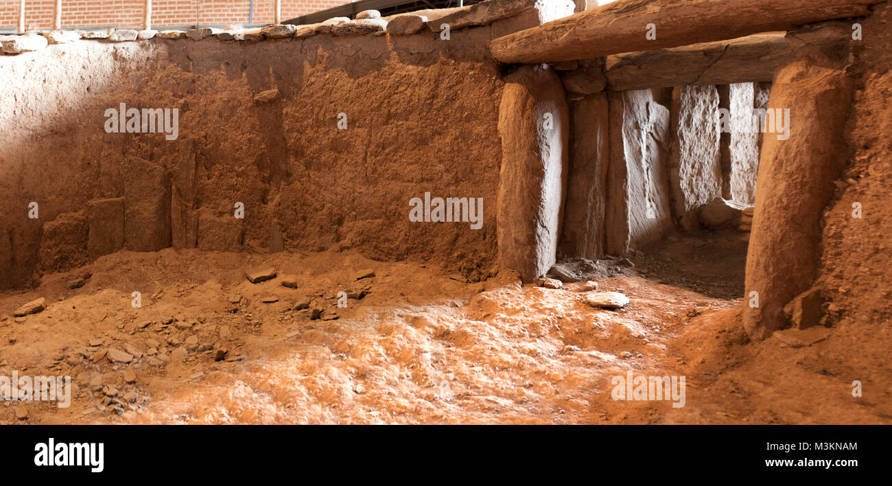 Archeological site of Huerta Montero, Calcholitic Dolmen. First winter solstice sunray taken from dolmen interior, - Stock Image