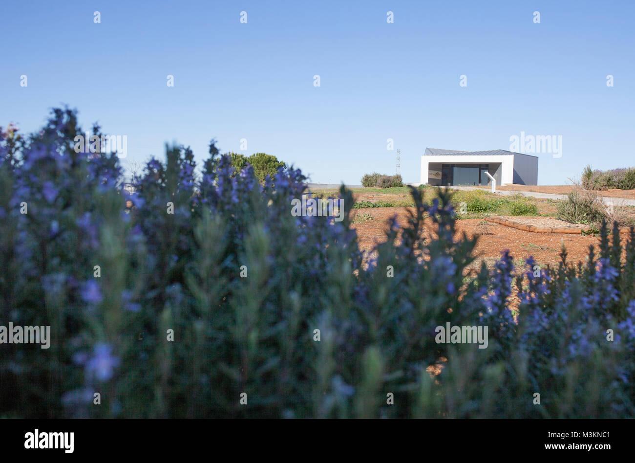 Archeological site of Huerta Montero, Tholos Dolmen in Almendralejo, Spain. Visitors centre building - Stock Image