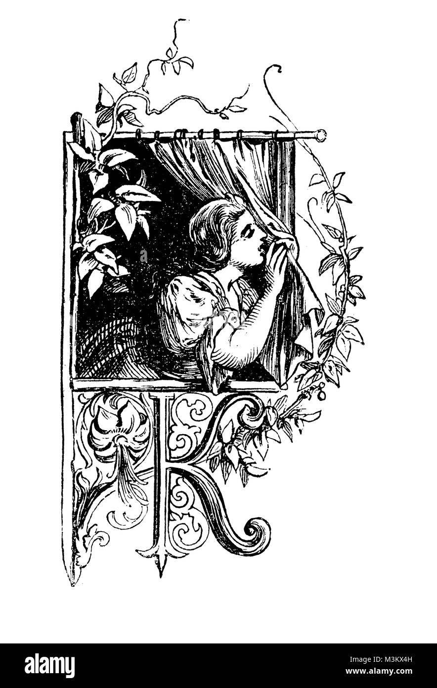 Young woman at window, graphic chapter frontpiece with capital letter K, vintage - Stock Image