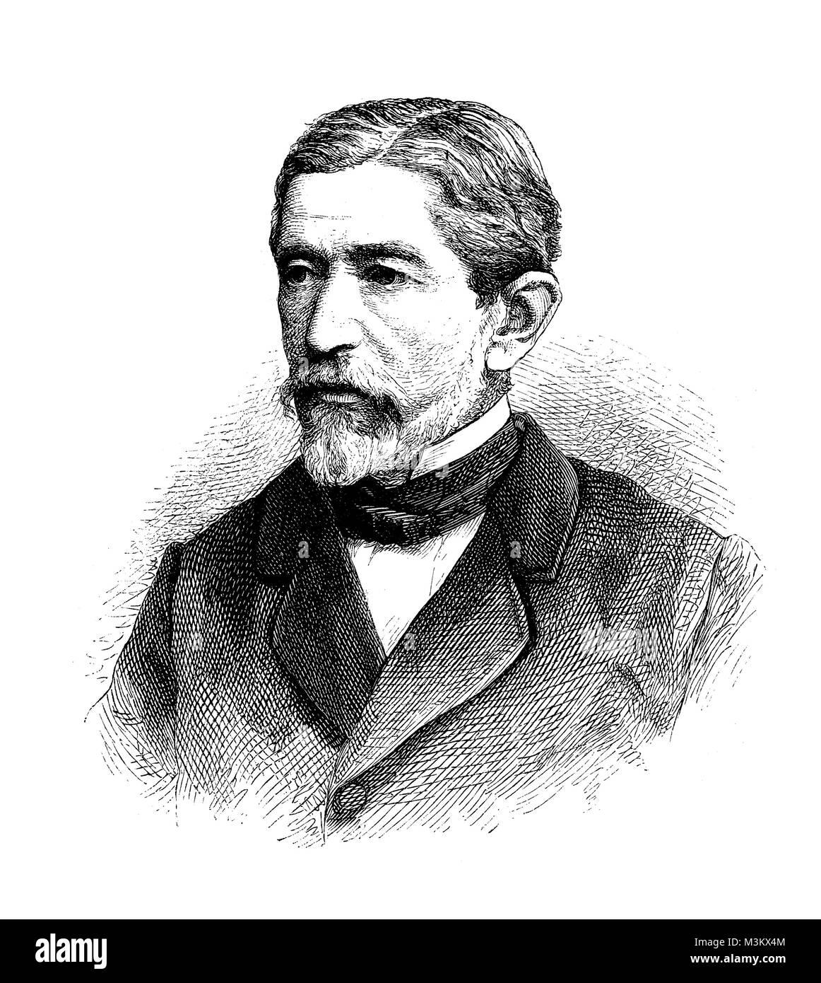 Hermann von Mallinckrodt, German parliamentarian, vintage engraving portrait - Stock Image