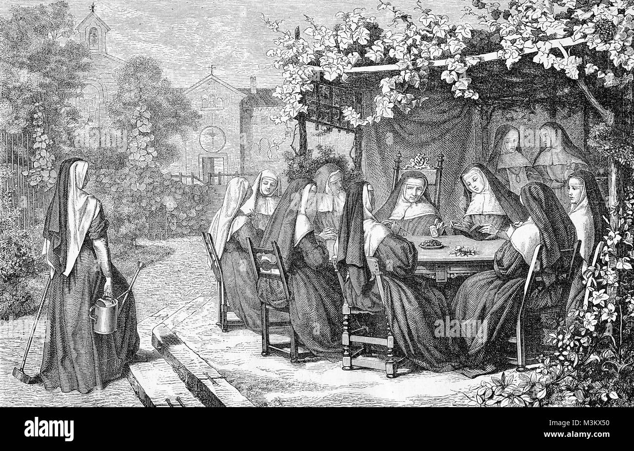 Nuns enjoy the warm weather sitting outside in cloister garden, vintage engraving - Stock Image