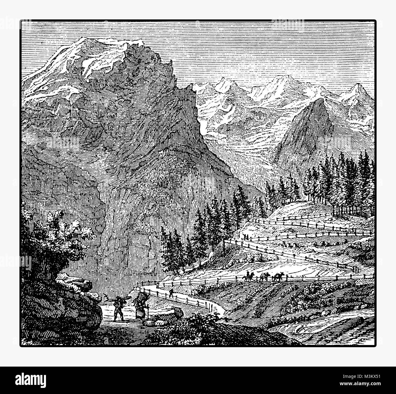 Panoramic view of mountain route and the Ortler, the highest mountain in Eastern Alps, vintage engraving - Stock Image