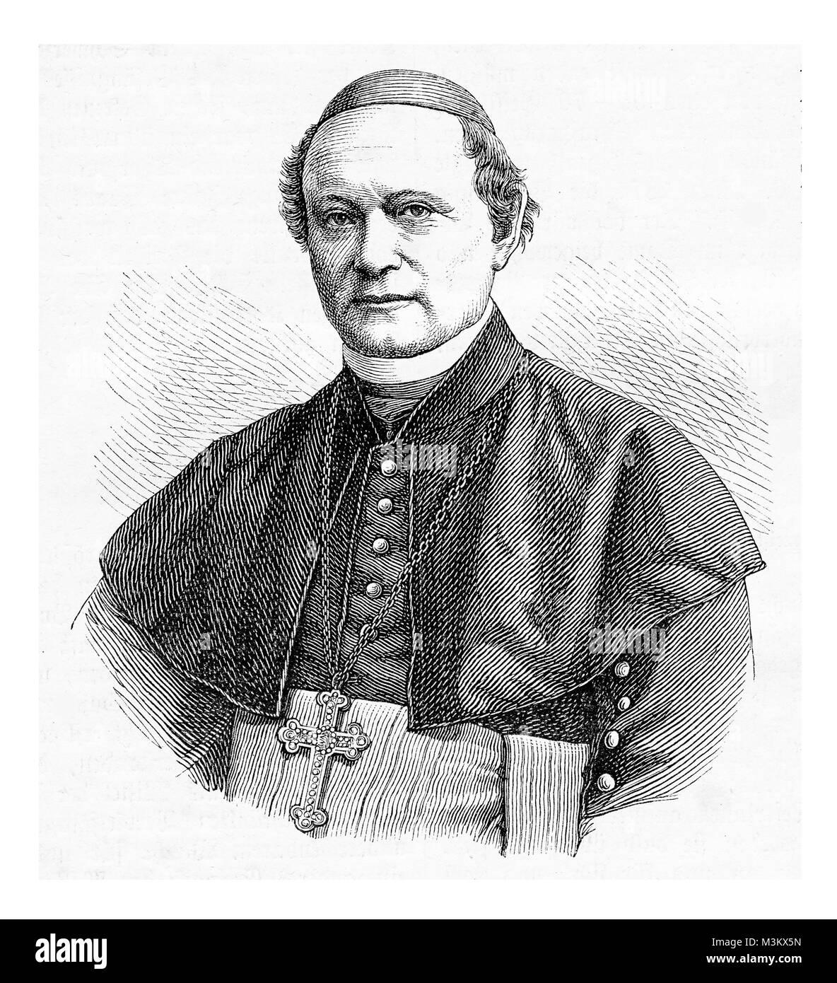 Vintage engraving portrait of Dr. Matthias Eberhard, bishop of Trier - Stock Image