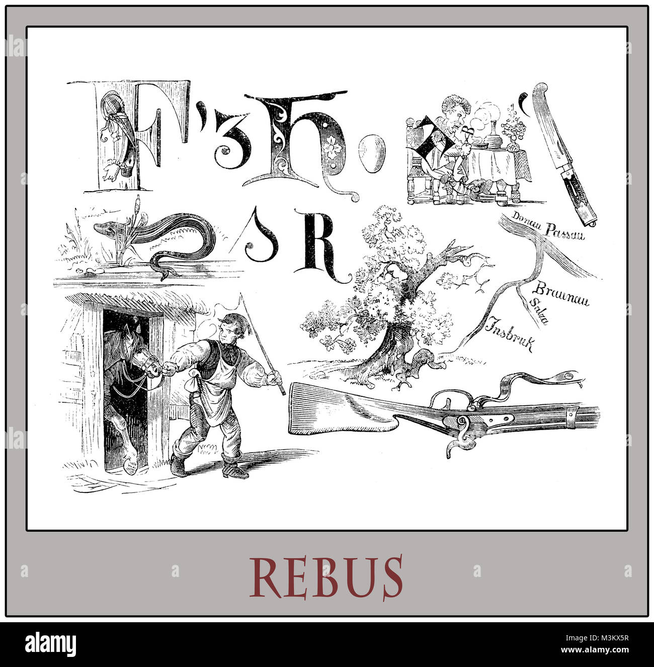 Rebus brain teaser in a vintage German magazine - Stock Image