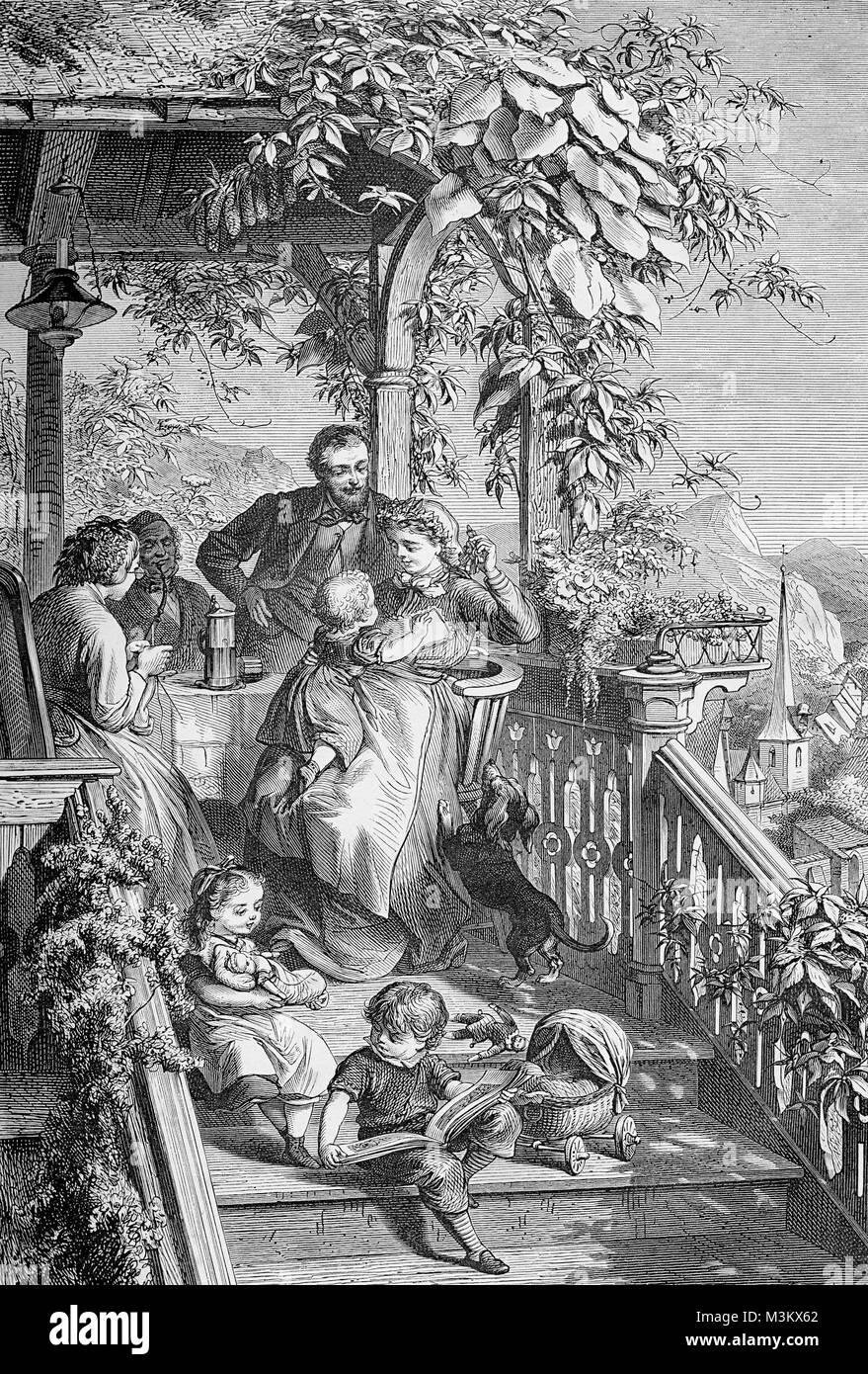 Cheerful family  enjoying springtime in veranda, vintage engraving - Stock Image