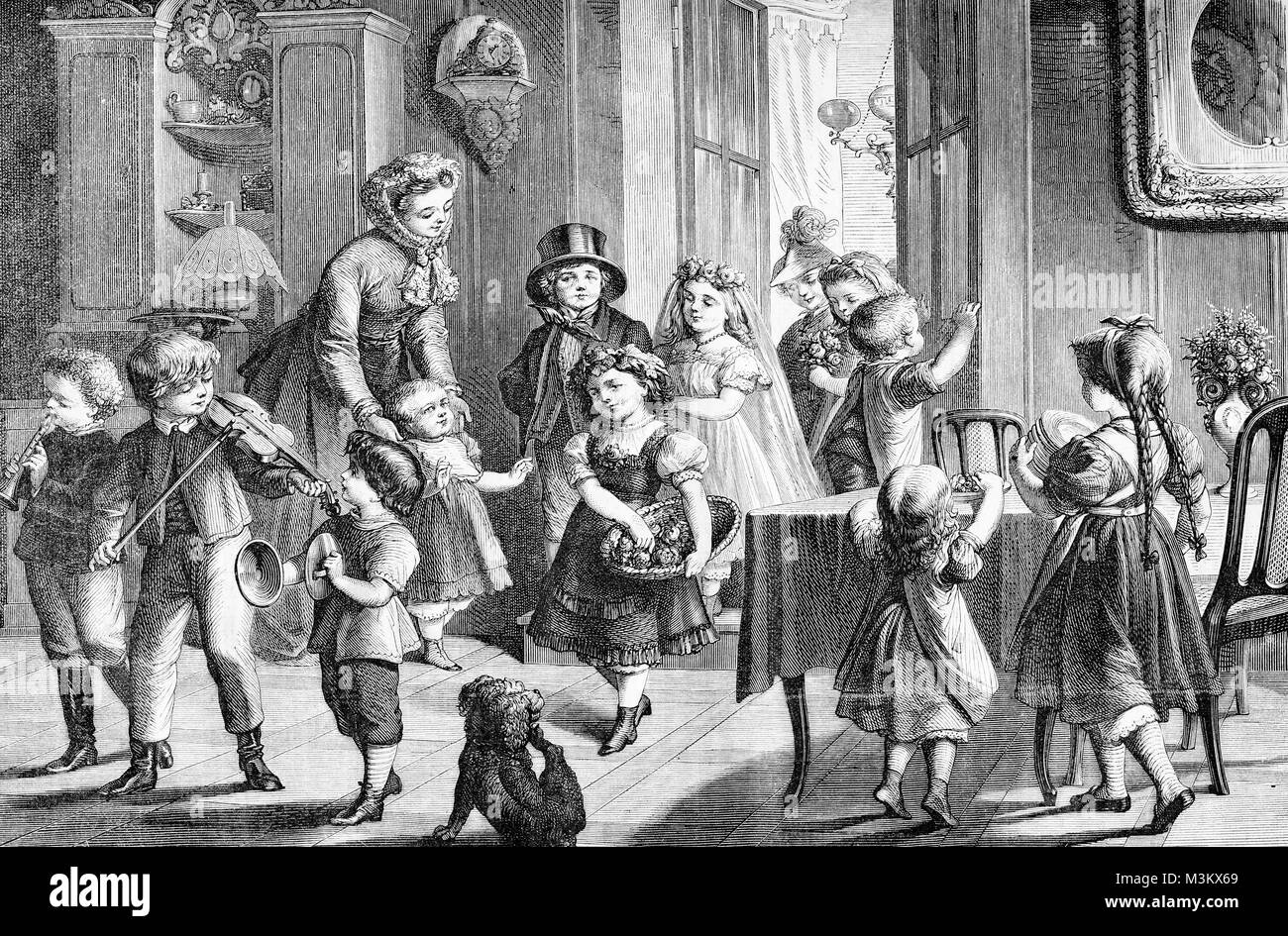 Marriage preparatives: festive and happy children at home, vintage engraving - Stock Image