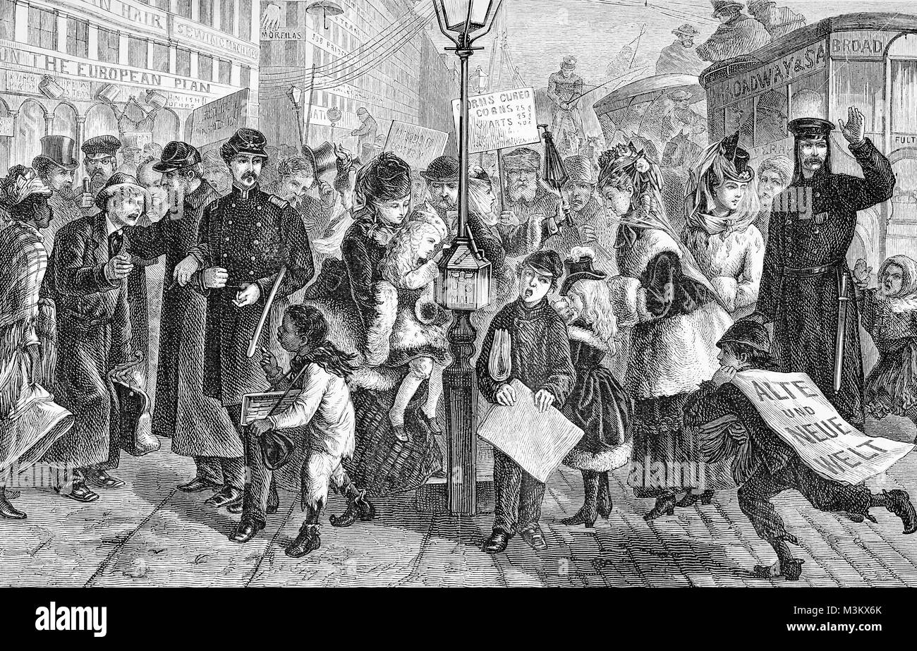 Street life in New York city, vintage engraving from 'Alte und neue Welt', 1870 ca. - Stock Image