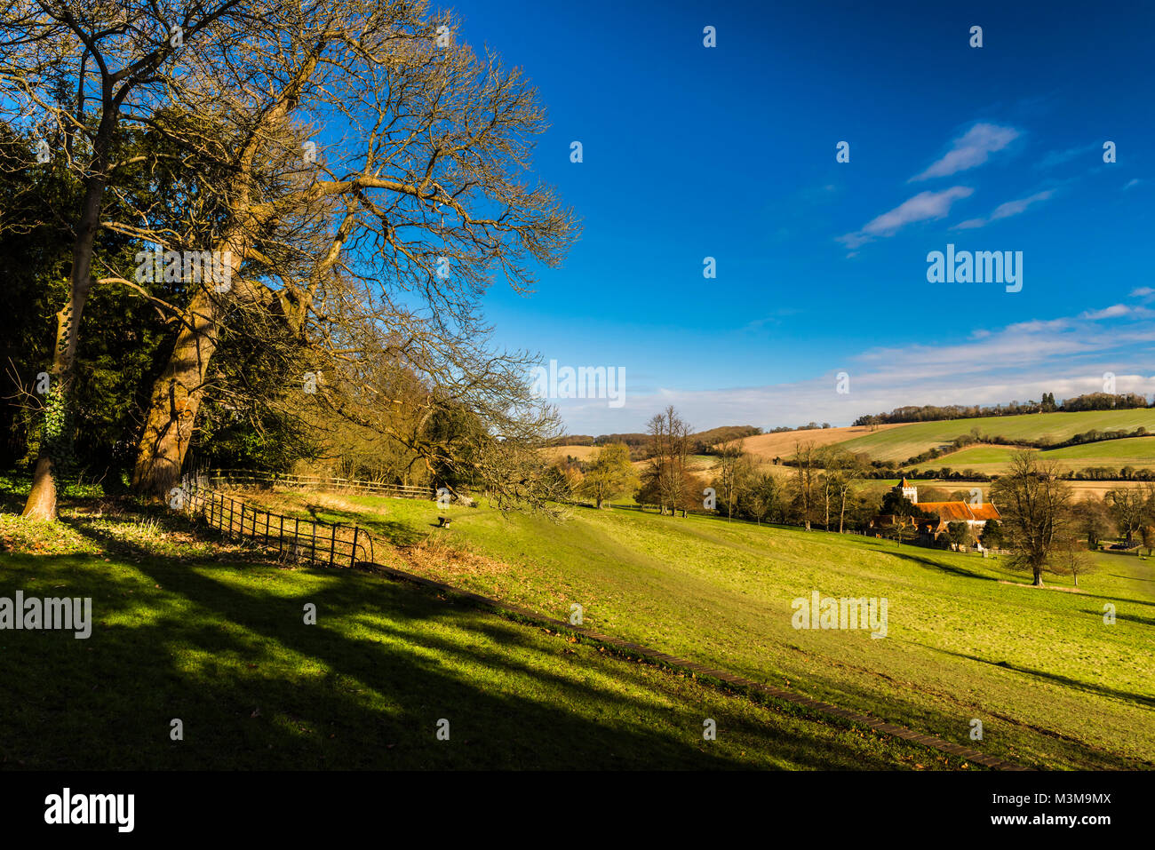Church and fields near Hughenden, Buckinghamshire, UK - Stock Image