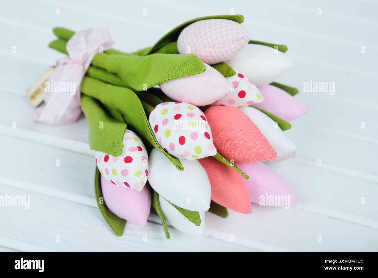 a bouquet of toy tulips - Stock Image