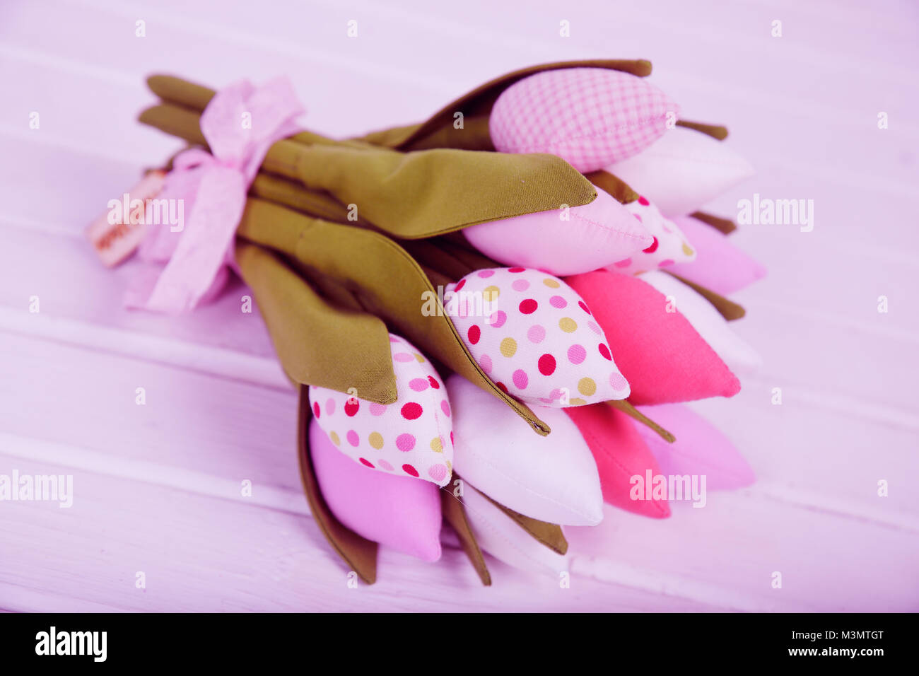 bouquet of beautiful toy tulips close-up - Stock Image