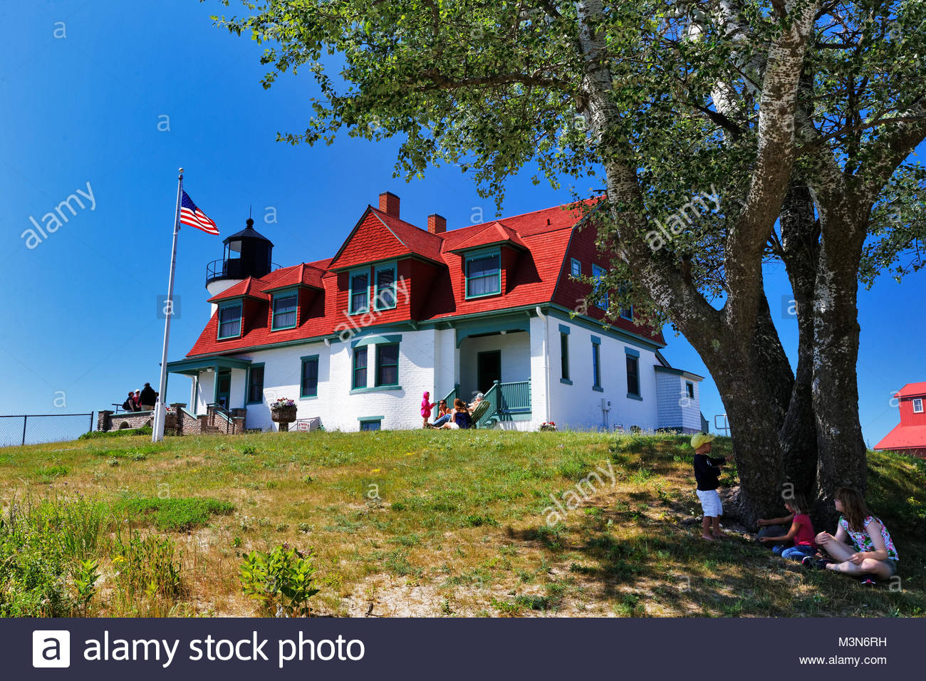 Point Betsie Lighthouse, Norht of Frankfort Michigan on a very sunny day - Stock Image