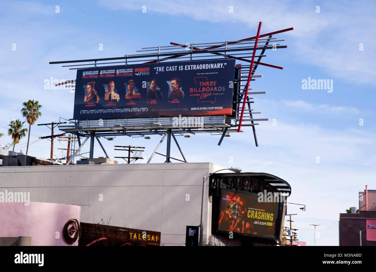 Innovative Sunset Strip billboard for movie Three Billboards in Los Angeles, CA - Stock Image