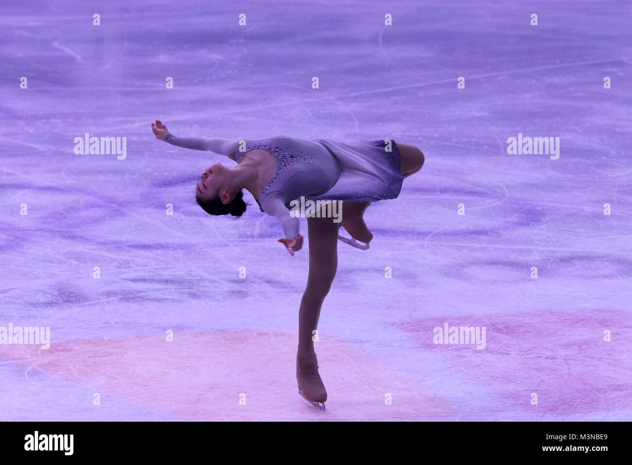 Yu Na Kim of the Korea performs at the Pacific Coliseum during an exhibition to mark the end of the Figure Skating - Stock Image