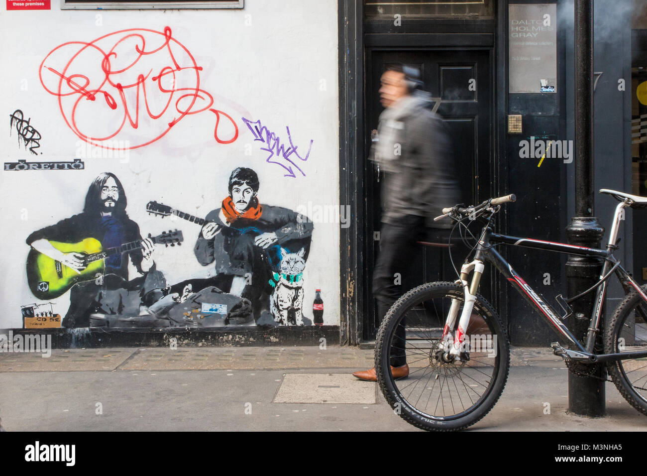 The spirit of John Lennon and Paul McCartney lives on in Soho - Stock Image