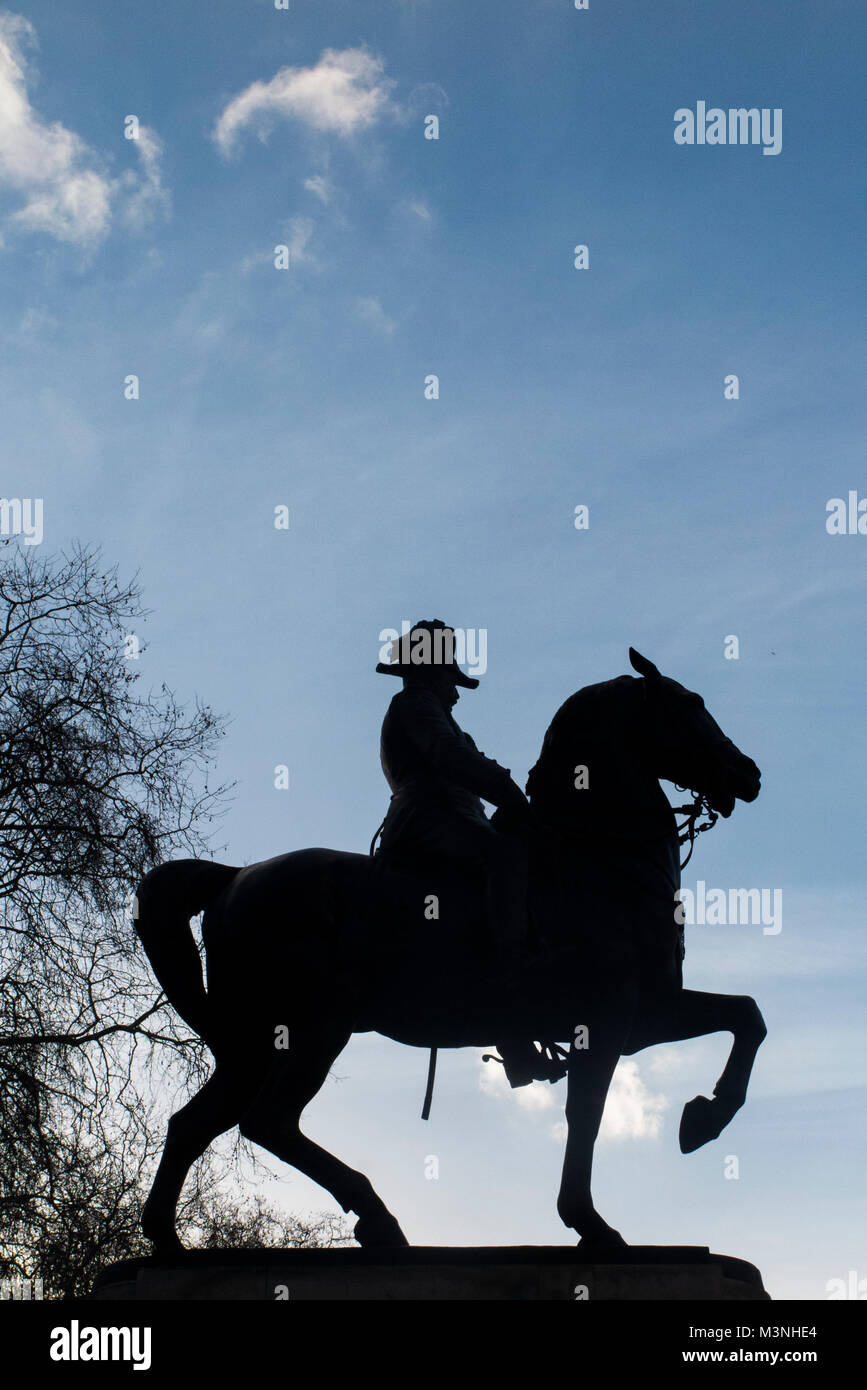 A statue of Edward VII on his horse in Waterloo Place, London, England - Stock Image