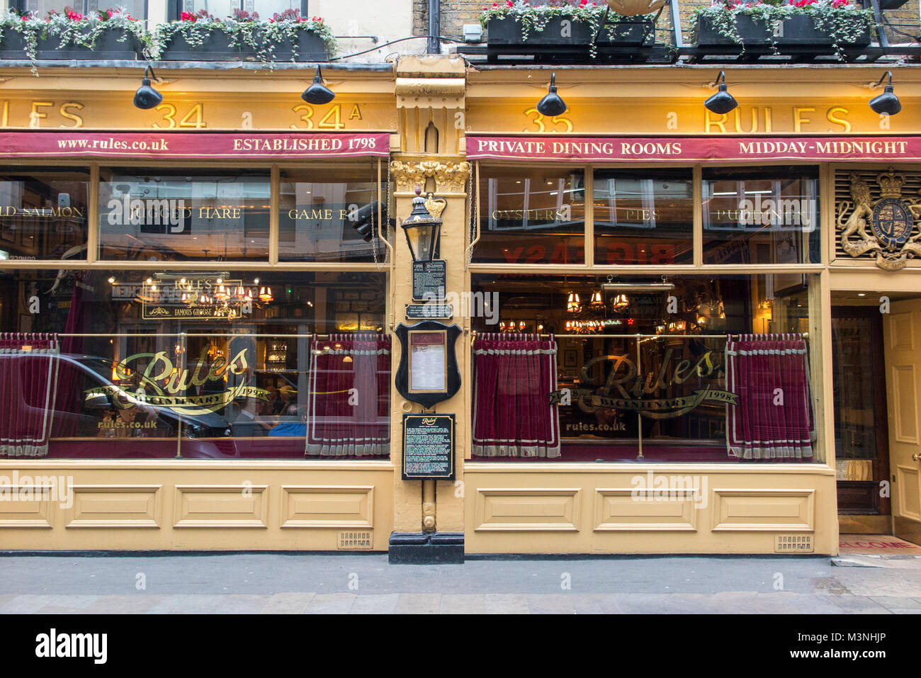 Rules Restaurant in London - oldest restauant in London - Stock Image