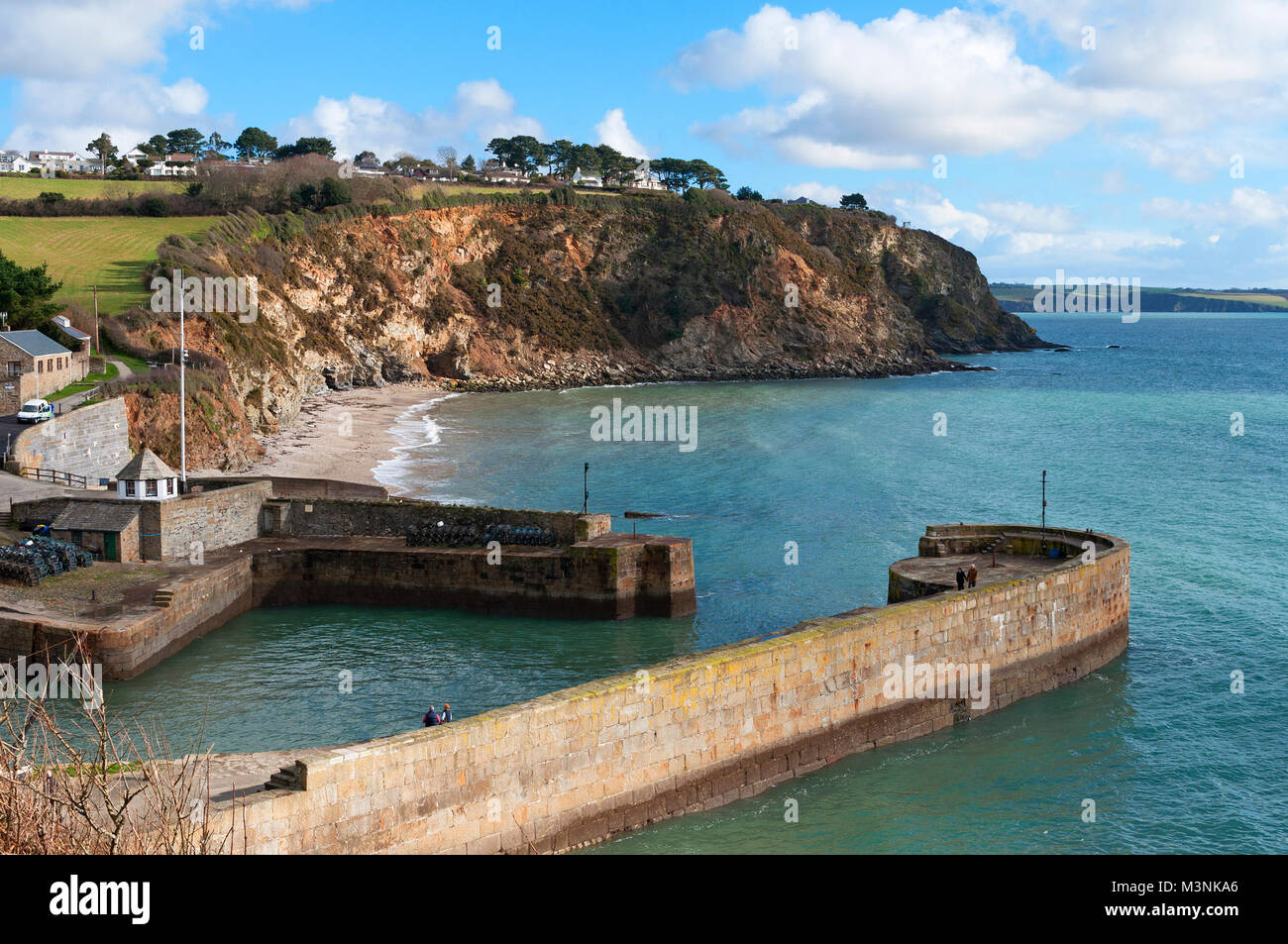 historic harbour at charlestown in cornwall, england, britain, uk. - Stock Image