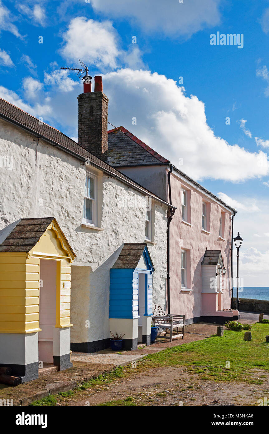 holiday cottages at charlestown in cornwall, england, uk. - Stock Image