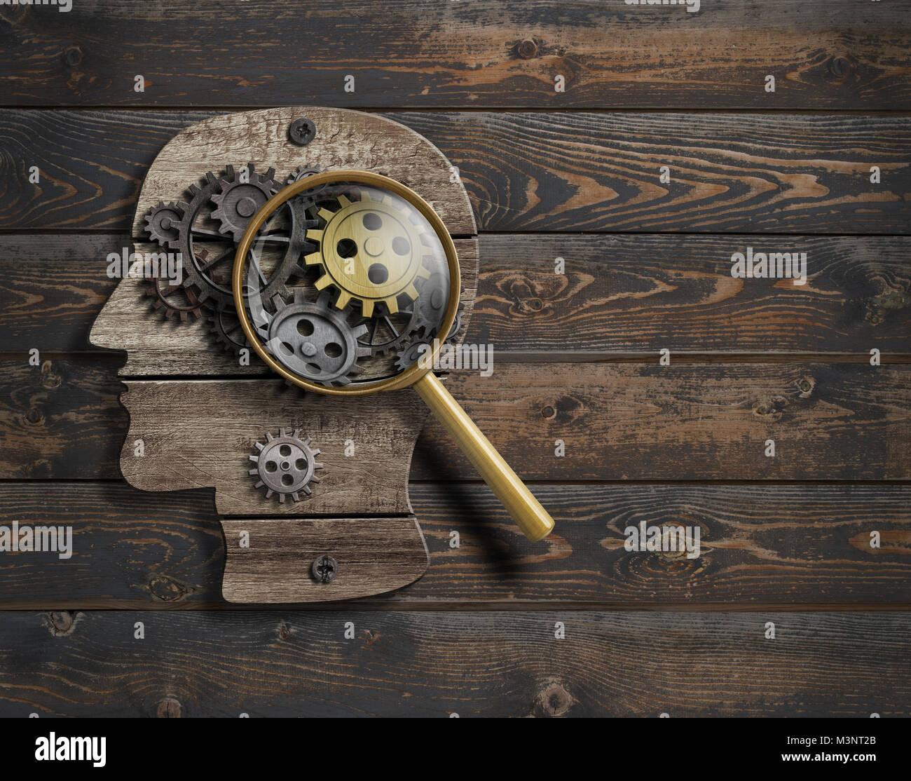 Psychology or invent conception. Brain function model 3d illustration. - Stock Image