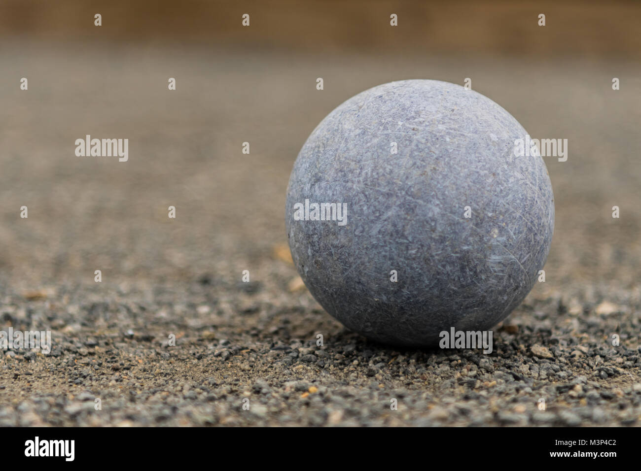 Close Up Blue Bocce Ball Right - Stock Image