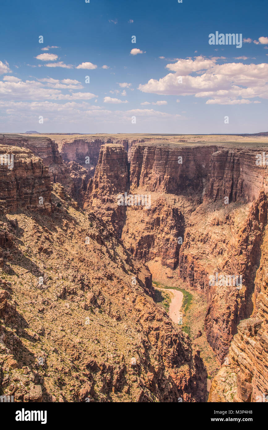 Colorado River at the Bottom of the Grand Canyon Vertical Image - Stock Image