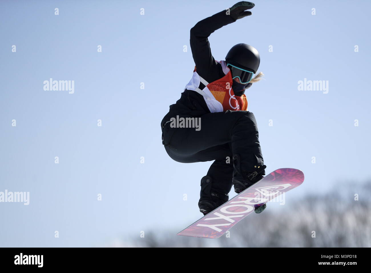 Pyeongchang, South Korea. 12th Feb, 2018. PYEONGCHANG, SOUTH KOREA - FEBRUARY 11, 2018: Snowboarder Sofyoa Fyodorova, - Stock Image