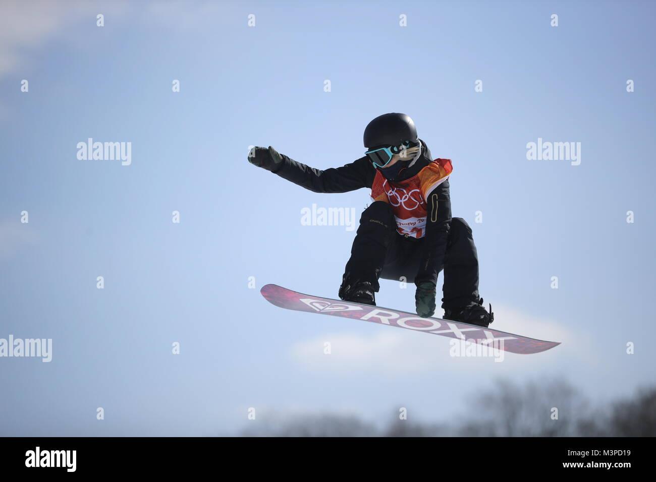 Pyeongchang, South Korea. 12th Feb, 2018. PYEONGCHANG, SOUTH KOREA - FEBRUARY 11, 2018: Snowboarder Sofya Fyodorova, - Stock Image