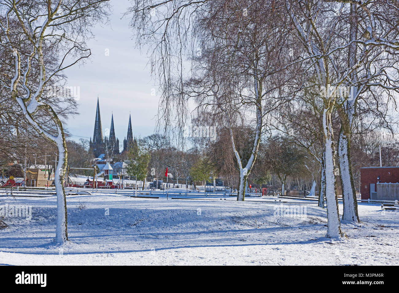 Lichfield Staffordshire England on Monday 12th February 2018 Lichfield Cathedral and its three spires seen from - Stock Image