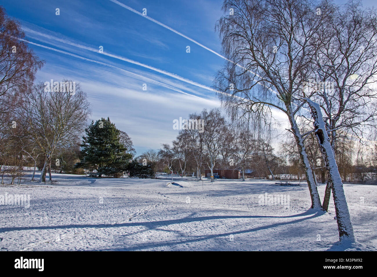 Lichfield Staffordshire England on Monday 12th February 2018 Sunshine fresh snow and shadows and spectacular jet - Stock Image