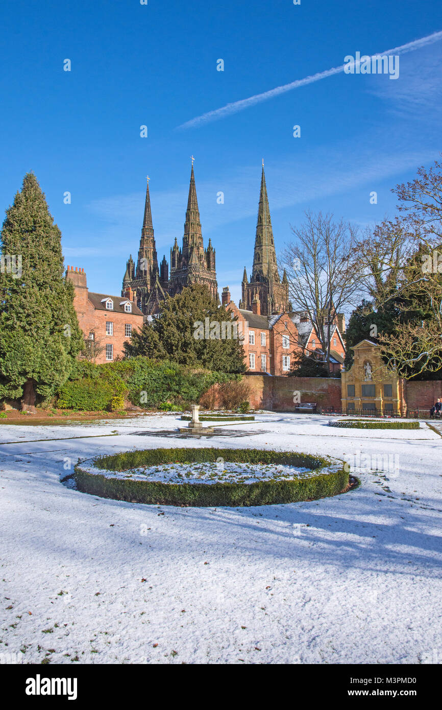 Lichfield Staffordshire England on Monday 12th February 2018 Lichfield Cathedral and its three spoires seen form - Stock Image